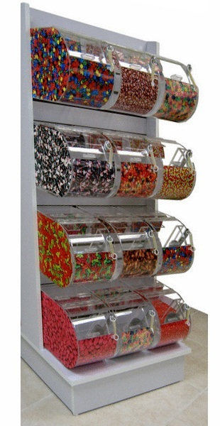 White Slatwall Candy Rack With 24 Round Face Bins Candy