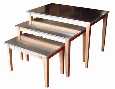 Tapered Leg Nesting Table Set Retail Display Wood Stands