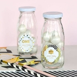 Metallic Foil Birthday Glass Milk Bottles - 24ct