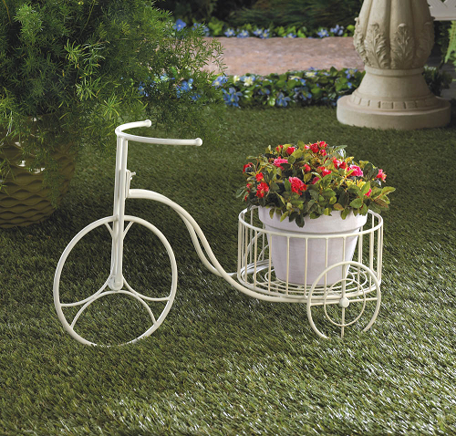 Tricycle Planter White Store Decor Iron Display Stand