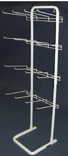 White 12 Hook Non Flex Retail Display Rack Floor Fixture
