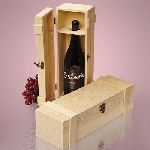 Wine Hinged Pine Box - 6ct