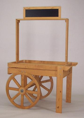 Wood Display Cart Portable Produce Display Kiosk Cart