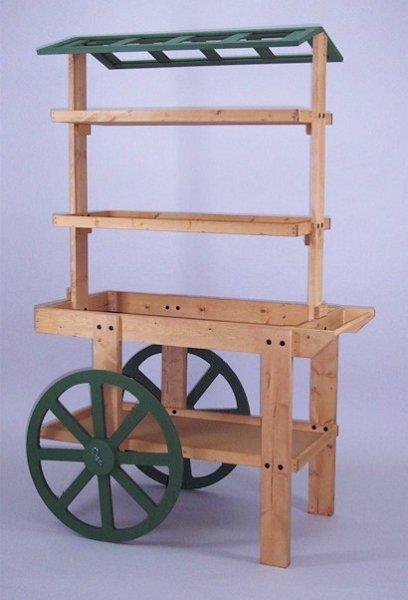 Wooden display cart bakery display floral cart display