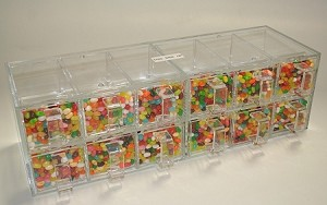 Twelve Drawer Compact Plexi Display