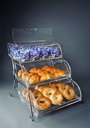 Triple Tier Bakery Display Case With Stand