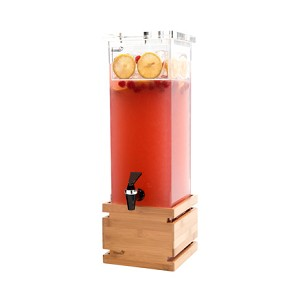 2 Gallon Square Bamboo Base Beverage Dispenser