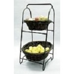 Bronze Finish Oval Willow Display Baskets - 2 Tier