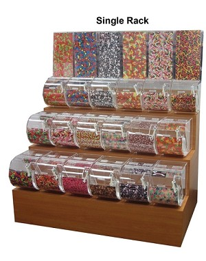 "3-Tier Wooden Candy Rack - With 9"" Bins"