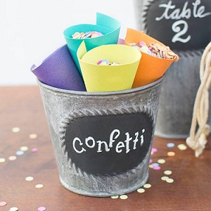 "Round Metal Pot with Chalkboard 4"" - 6ct"