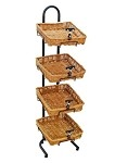 4 Square Willow Basket Display w/ Sign Holders