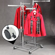 4 Way Chrome Apparel Rack With Casters