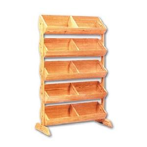5 Tier Wood Barrel Display Stand Produce Display Rack