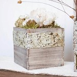 Square Rustic Whitewash Wood Box 6