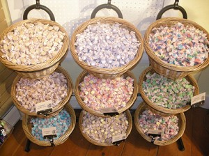 9 Basket Wicker Display Filled with Taffy