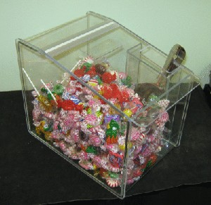 Candy Dispenser With Hinged Lid