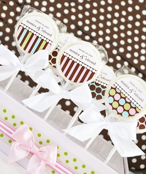 Dots & Stripes Personalized Lollipops - 24ct