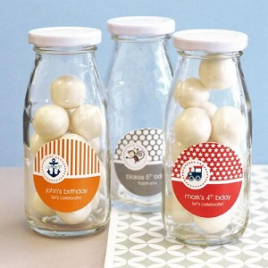 Kids Birthday Personalized Glass Milk Bottles - 24ct