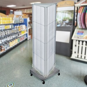 3 Sided Revolving Pegboard Floor Display Retail Fixture