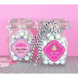 Personalized Kids Birthday Glass Jars w/Lids - 24ct