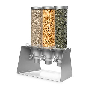 Triple Dispenser With Gray Metal Stand