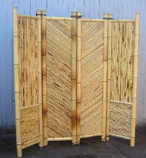 "Four Panel Bamboo Screen Divider - 18"" Panels"