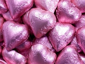 Bright Pink Milk Chocolate Hearts - 10lbs
