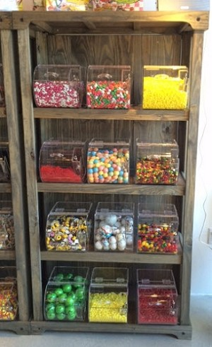 Stained Wooden Candy Rack