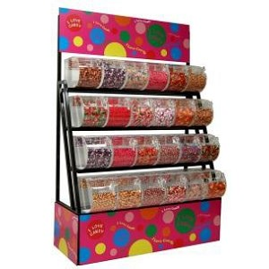 Candy Display Rack With Bins / Scoop Assemblies - 72""