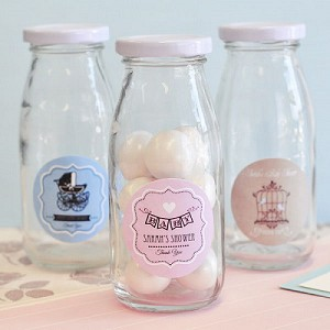 Classic Baby Shower Glass Milk Bottles - 24ct