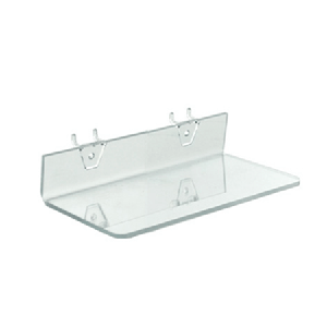 "Clear Acrylic Shelf For Pegboard/Slatwall - 10.5"" - 4ct"