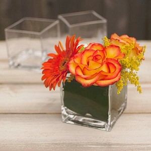 "Clear Cube Vase - 4"" - 12ct"