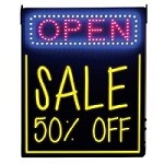 Combo LED Open Sign plus Backlit Writing Board