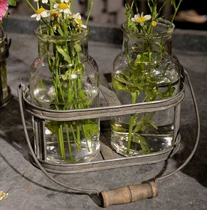 Distressed Metal Basket with 2 Glass Jars - 2ct