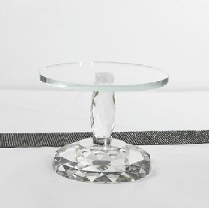 Faceted Glass Cake Stand/Riser 7.5in