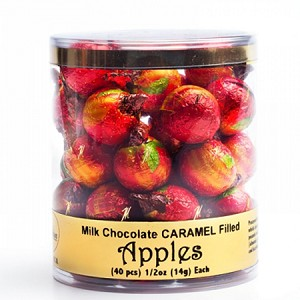 Foiled Chocolate Apples w/Caramel - 40ct