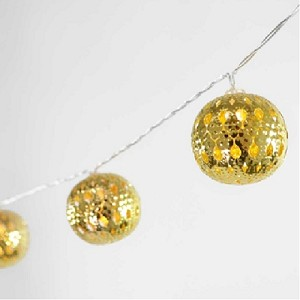 LED Gold Moroccan Metal Ball String Lights - 4.5ft