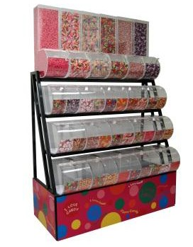 Candy Rack With Divided And Gravity Bins - 72""