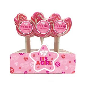 It's A Girl Whirly Pops - Strawberry Flavor - 24ct