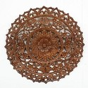 "Carved Teak Lotus Panel - 24"" D"