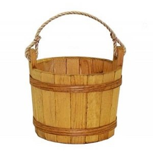 Medium Wooden Stained Buckets - 3ct