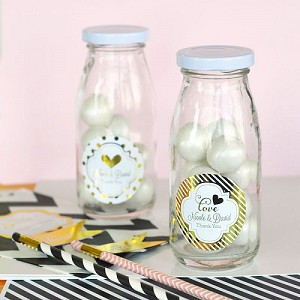 Metallic Foil Wedding Milk Bottles - 24ct