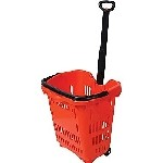 Red Rolling Shopping Baskets - 5ct