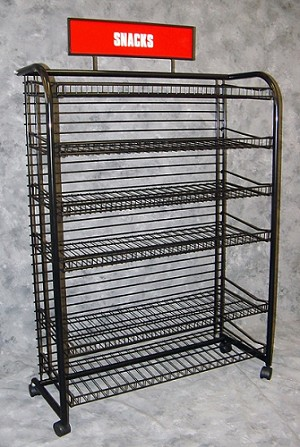 Red Snack Rack Wire Retail Store Display C Store Rack