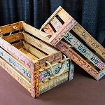 Rustic Ruler Crates w/Rope Handles - Set of 2