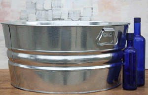 Shiny Round Galvanized Tub Metal Display Bucket Retail