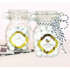 Metallic Foil Baby Small Swing Lid Glass Jars - 24ct