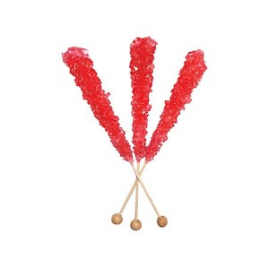 Strawberry Rock Candy Sticks - Unwrapped - 120ct