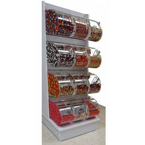 White Slatwall Candy Rack - 24 Round Face Bins