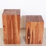 Teak Block Stand - Hand Carved - Chestnut Finish